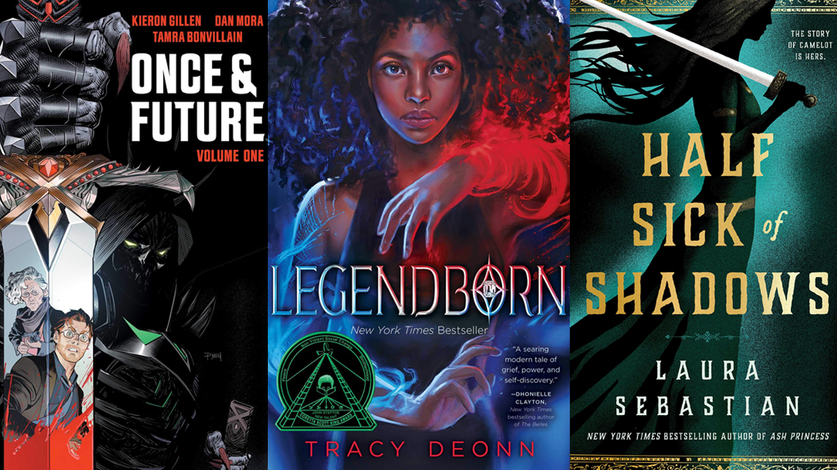 """A collage of recent King Arthur retellings and adaptations. Books covers of """"Once and Future"""" by Kieron Gillen and Tamra Bonvillain, """"Legendborn"""" by Tracy Deonn, and """"Half Sick of Shadows"""" by Laura Sebastian."""