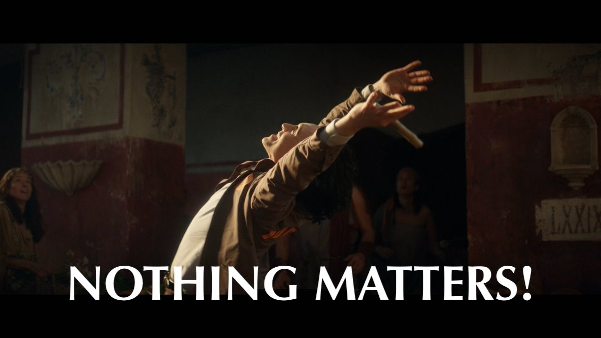"""Loki throwing his hands up and shouting """"Nothing matters!"""" on Marvel and Disney+'s Loki."""