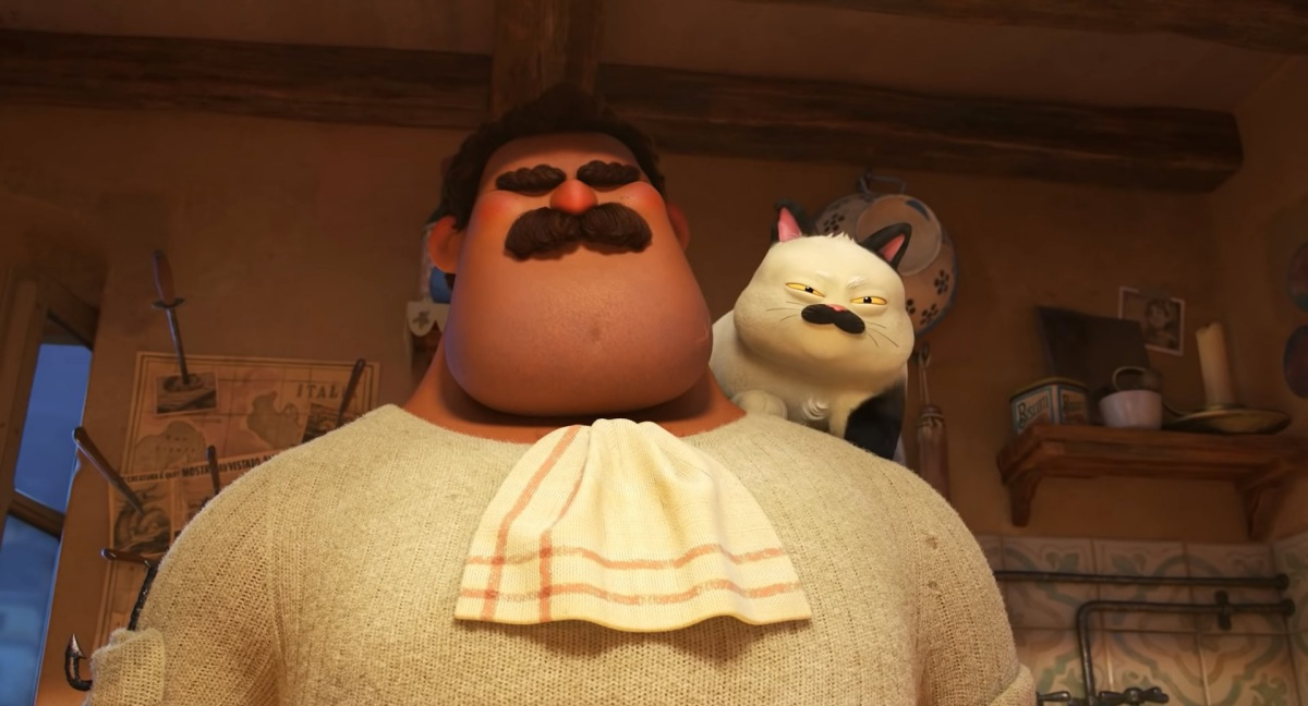 Massimo Marcovaldo in Pixar's Luca with his cat on his shoulder