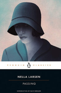 """Woman shielding her face with a hat as the bookcover for Nella Larsen's """"Passing."""" (Image: Penguin Group)"""