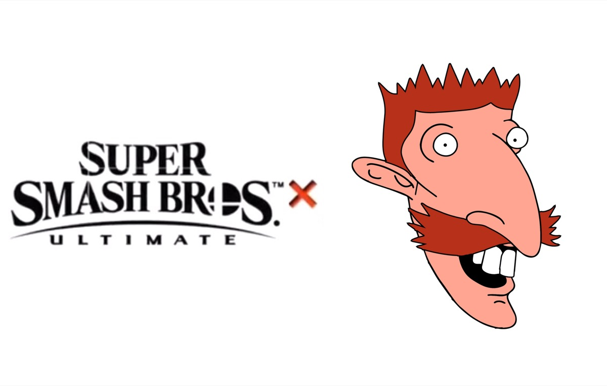 Smash Bros Ultimate logo and Nigel Thornberry's face.
