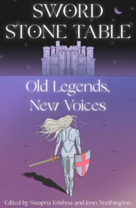 """OLD LEGENDS, NEW VOICES"""" edited by Swapna Krishna and Jenn Northington. Person with sword walking towards a castle in the distance."""