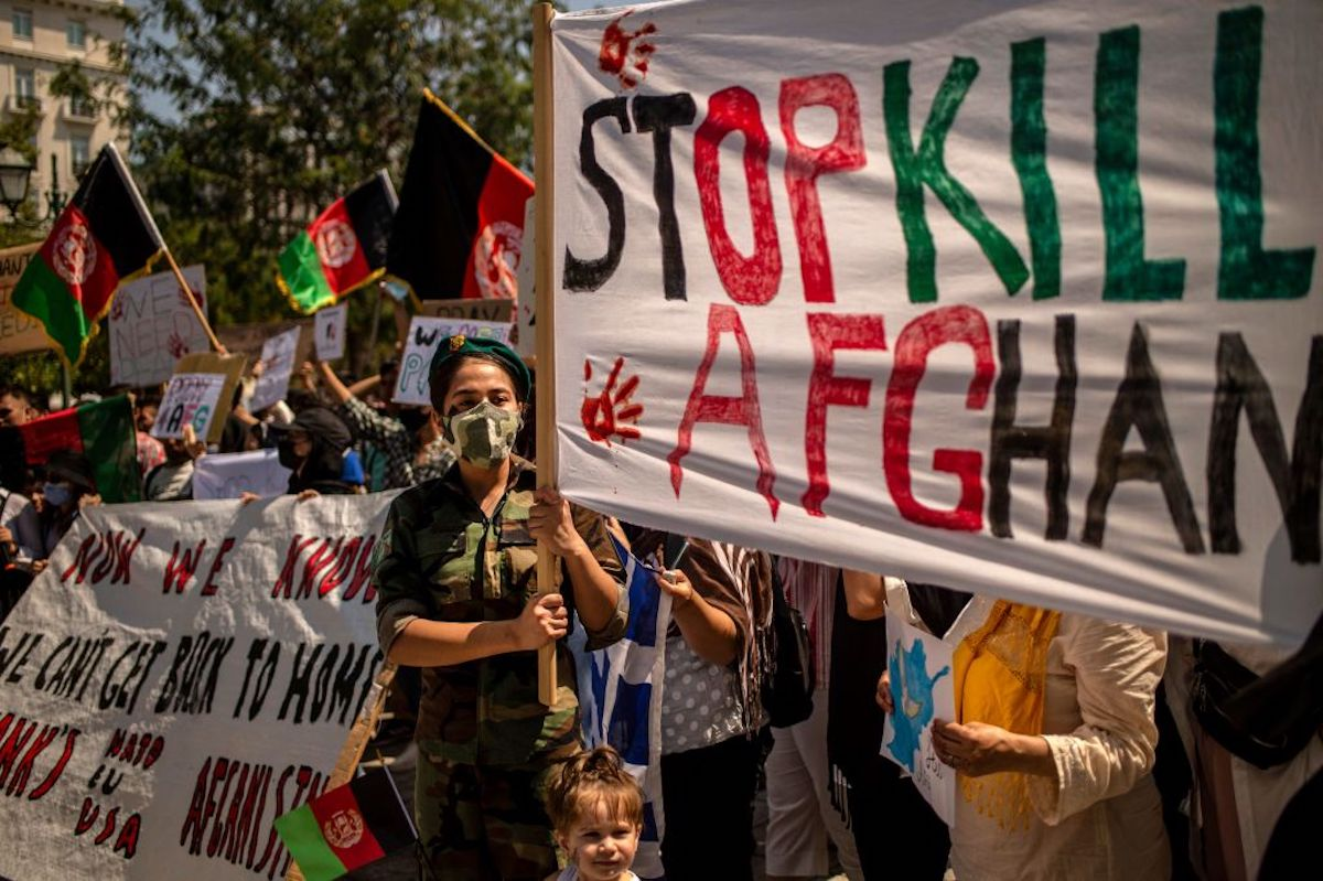 A protest against the Taliban takeover of Afghanistan in Athens, Greence