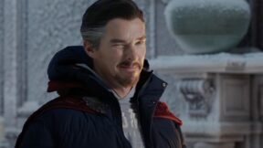 Benedict Cumberbatch as Doctor Strange wearing winter gear and a cloak in the Spider-Man No Way Home trailer