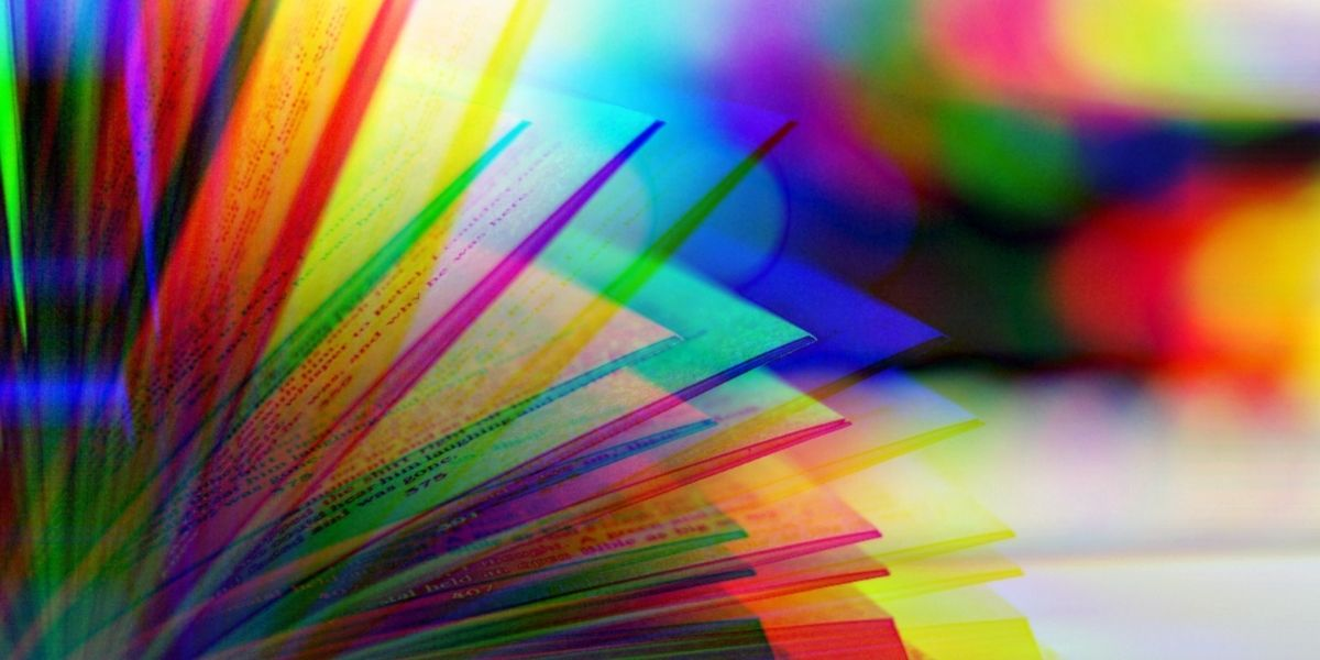 Book opening with rainbow glitch feature. (Image: Alyssa Shotwell)