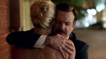 Ted and Rebecca hug on Ted Lasso