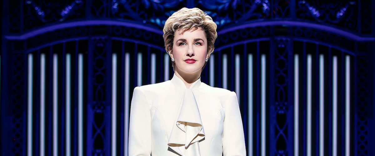 Diana staring into the crowd in Diana the Musical