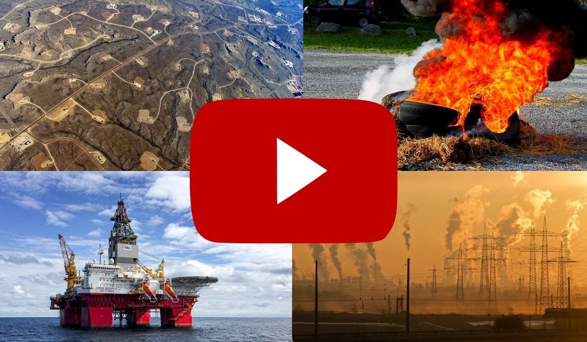 Google logo infront of big man made causes to climate change including hydraulic fracturing, trash/rubber burning, off shore drilling, and chemical/manufacturing pollution. (Image: Google/Youtube, Eco Flight, Pexels and Pixabay. https://ecoflight.zenfolio.com/p648196342/h32638d19#h32638d19 . https://pixabay.com/photos/tire-smoke-burn-rubber-fire-4972004/ . https://www.pexels.com/photo/oil-platfrom-rig-in-the-middle-of-the-ocean-3207536/ , and https://www.pexels.com/photo/air-air-pollution-climate-change-dawn-221012/ .)