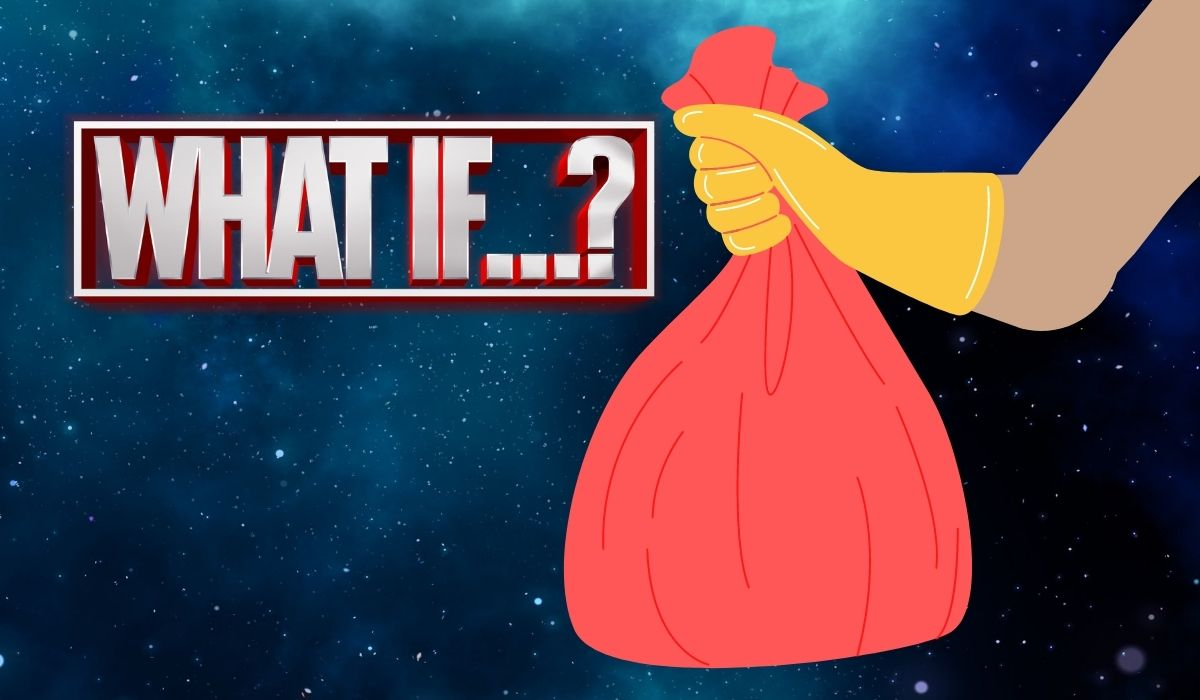 """""""What if...?"""" text logo next to a gloved hand with a bag of trash. All in SPACE. (Image: Marvel Studios and Alyssa Shotwell.)"""