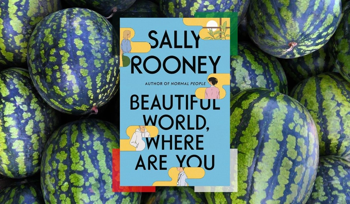 Sally Rooney book over and image of watermelons. Water melons are a symbol of Palestinian struggle/resistance. Four corners of the book have colors of the flag for the people of Palestine. (Image: Farrar, Straus & Giroux, and Alyssa Shotwell)