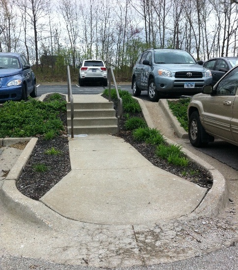 Handicap Ramp Leads to Stairs