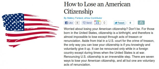 How To Lose An American Citizenship